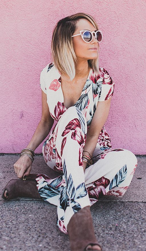 Tropical Print Jumpsuit by Styled Avenue
