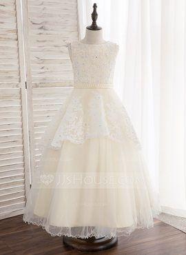 c39f97c763 A-Line Princess Ankle-length Flower Girl Dress - Tulle Lace Sleeveless Scoop  Neck With Beading (010148800) - Flower Girl Dresses - JJ s House
