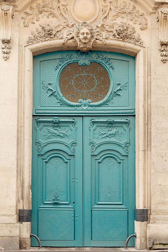 Blue Door, #ParisPhotography, Turquoise, Pastel, French #HomeDecor, Paris Print, Baroque, #Architecture, Ornate - First Impressions