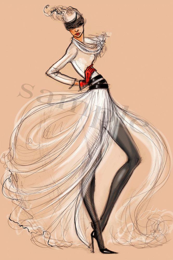 Fashion Illustration of Runway models by Julija Lubgane at Coroflot.com