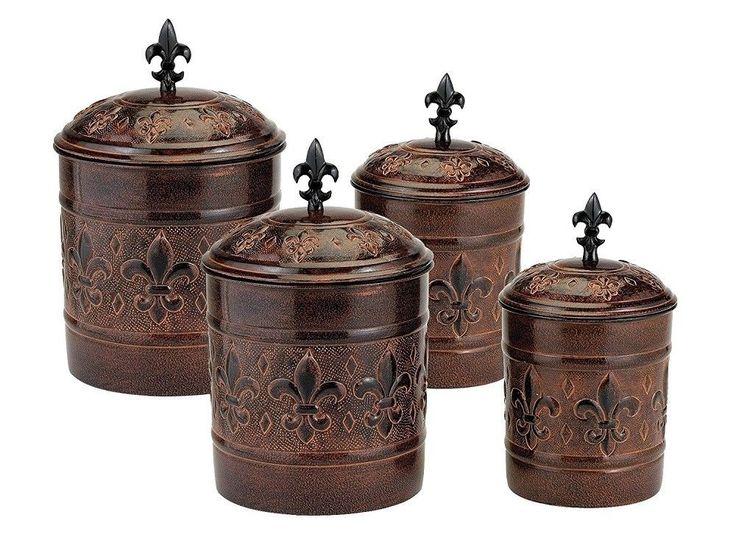 Antique Style Canisters Large 4pc Fleur De Lis Copper