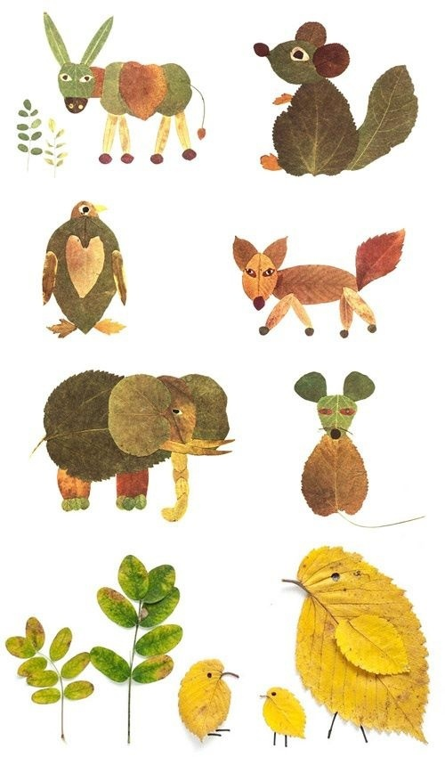 Autumn animals, created using colourful leaves.