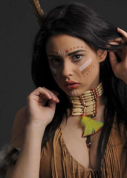 Trucco Carnevale da indiana , Make up da squaw per Carnevale