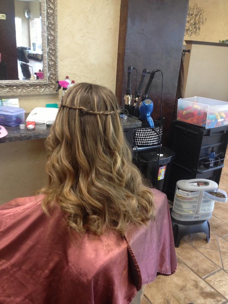 Waterfall braid and curly hair (:
