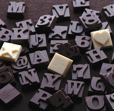 Chocolate Typography by 100% Chocolate Cafe. #product #design