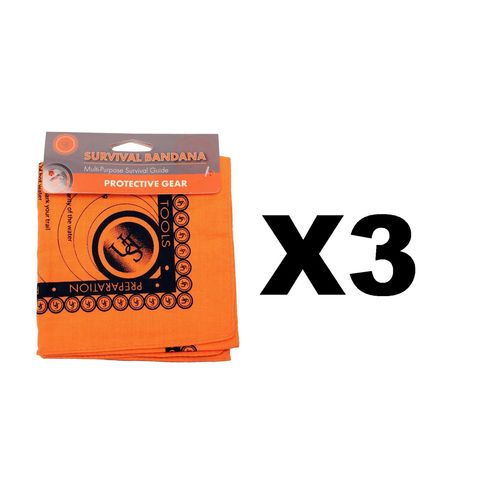 Ultimate Survival Technologies Bandana Orange Kerchief w/Survival Tips (3-Pack)