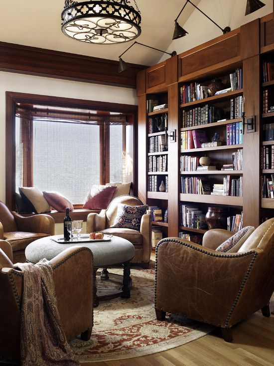 small home library living room