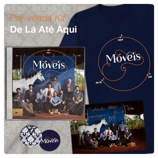 Visual Identity for the products of the album De Lá Até Aqui of the Brazilian band Móveis Coloniais de Acaju. Design by Barbara Miranda, 2013.