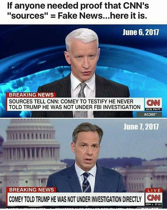 "Hmmm....that's NOT what Comey actually testified to. "" in his OWN Words.  Sorry CNN..you're Busted once Again.  Ya might check out ""Your Fake Sources"" better once again."
