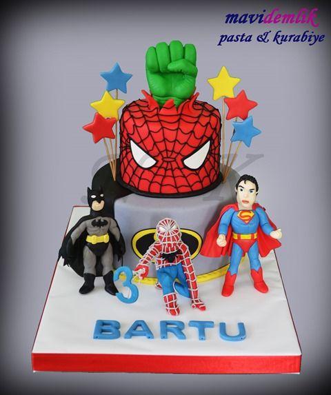 mavi demlik mutfağı- izmir butik pasta kurabiye cupcake tasarım- şeker hamurlu-kur: 3 YAŞ SÜPER KAHRAMANLAR PASTASI