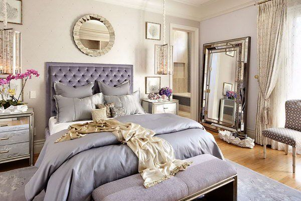 Add Dimensions and Perspective to Your Bedroom: What a elegant and glamorous bedroom. With mirrored bedside tables and a large mirror leaning on the wall, this bedroom is visually enlarged. I also love how it shines from the glow of the nearby lights.