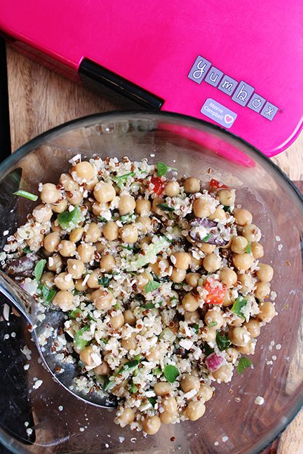 Quinoa and Chickpea Salad with Pita Recipe. Healthy lunch idea for work or school. Easy to make and yummy to eat. Packed with protein! Lunch inspiration :)