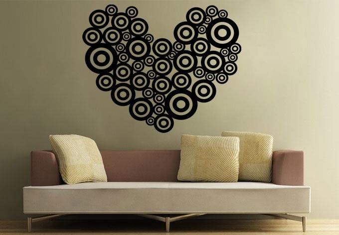 Väggdekor Hjärta i cirklar