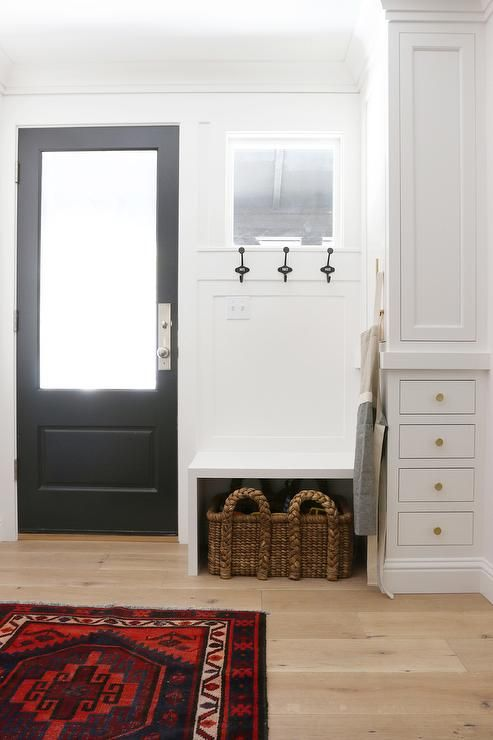 Built in Bench Next to Black Back Door, Transitional, Laundry Room, Benjamin Moore Chantilly Lace