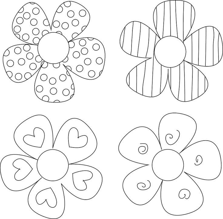 Шаблон цветков для открытки