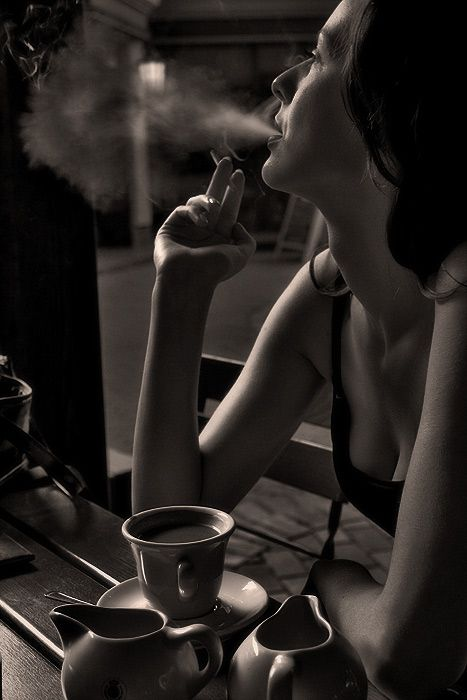 Morning Coffee, omit the smoking, however this photo definitely shows off the 'true' beauty of women in the early morning with their coffee!