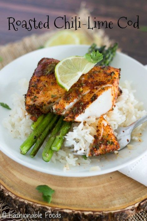 Cod filets are rubbed with a flavorful spice mixture before roasting to perfection.  Top this roasted chili-lime cod with a delicious lime-butter sauce and serve over your favorite veggie and rice, quinoa, or cauliflower rice for a simple weeknight meal!