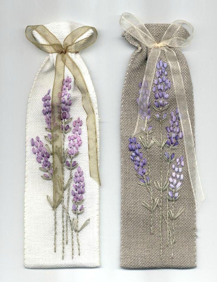 Embroidered lavender bags. Un petit sachet qui embaumera la lavande ...à broder sur lin blanc ou naturel. Pattern & directions: http://p1.storage.canalblog.com/15/49/865992/65645610.jpg (in French)