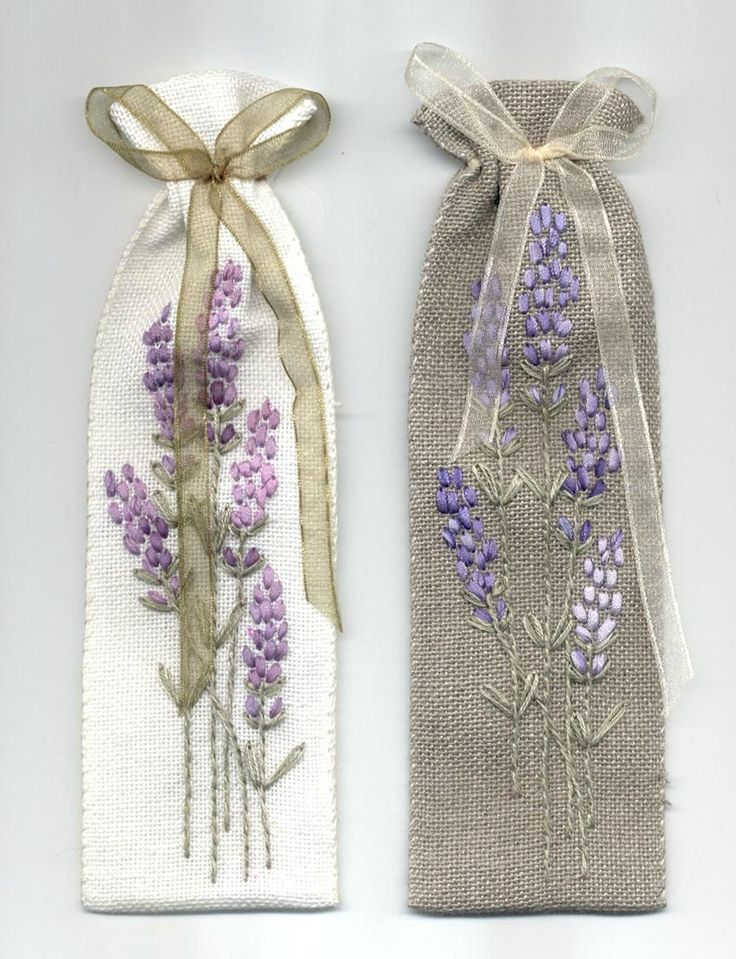 Lavender hand embroidery