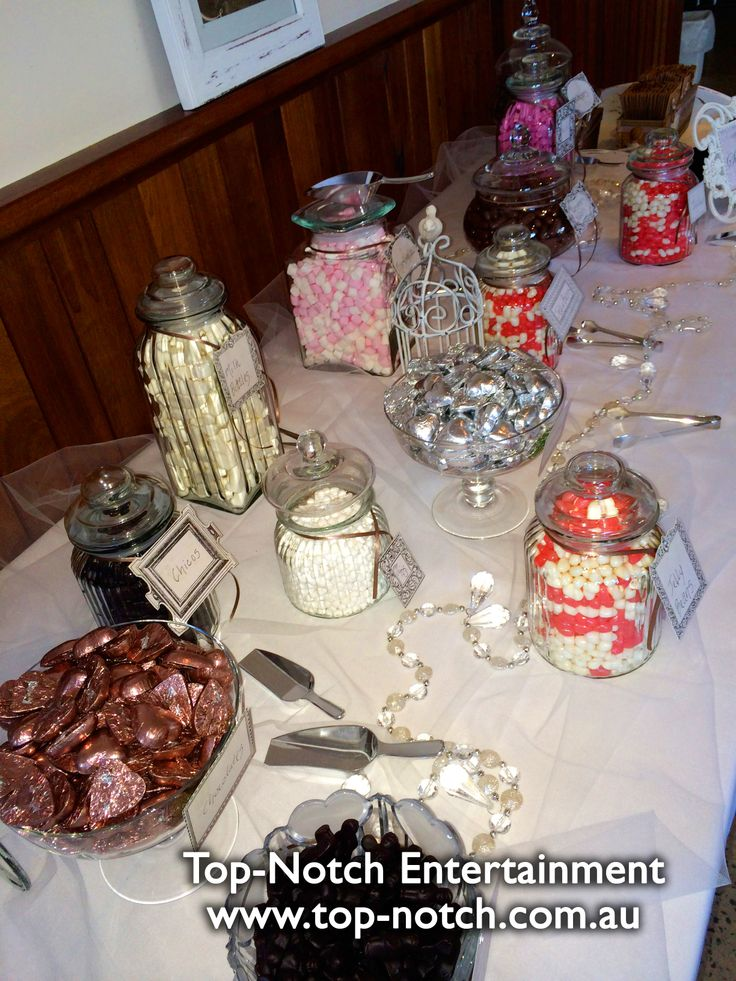 Everyone loves a great lolly buffet. This one was at Perricoota Vines Resort, Moama, NSW  www.top-notch.com.au www.facebook.com/WeddingDJTopNotch