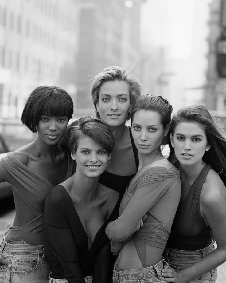 Vogue UK, January 1980  Photographer: Peter Lindbergh.  Naomi, Linda, Tatjana, Christy and Cindy. Shot chosen for the cover.