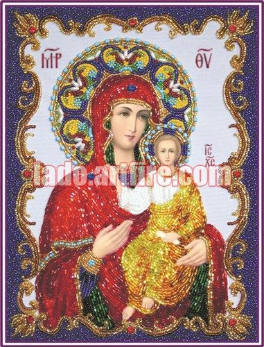 Our Lady Icon with Swarovski crystals bead embroidery DIY kit