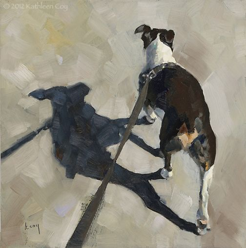"Kathleen Coy  - shadow Walk - 6"" x 6"" - oil on panel"