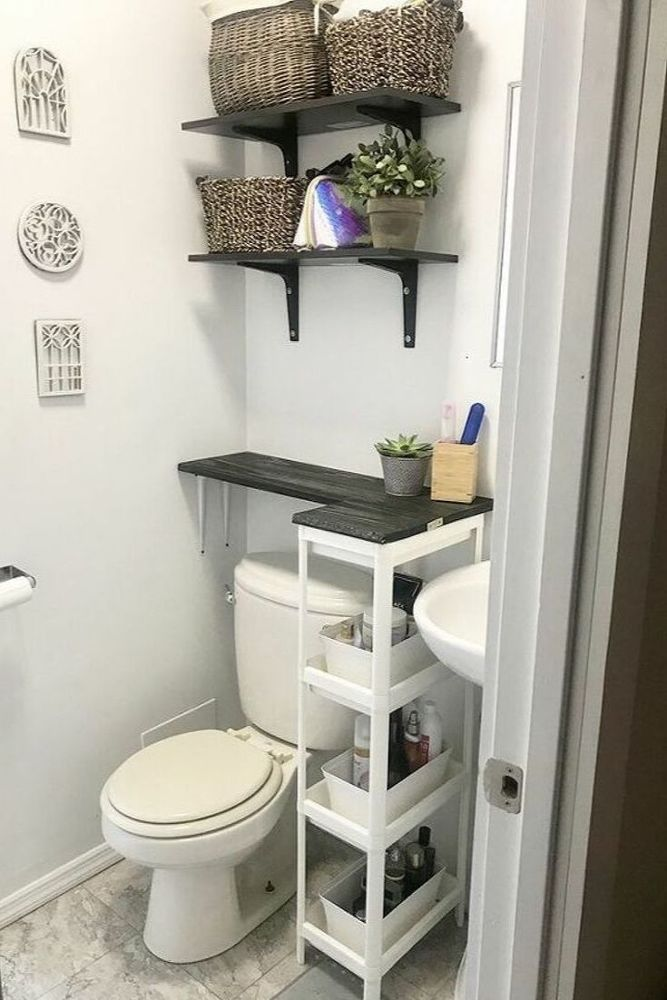 Diy Space Saving Solution For Your Bathroom With No Counter Space Bathroom Design Small Small Bathroom Diy Bathroom Storage