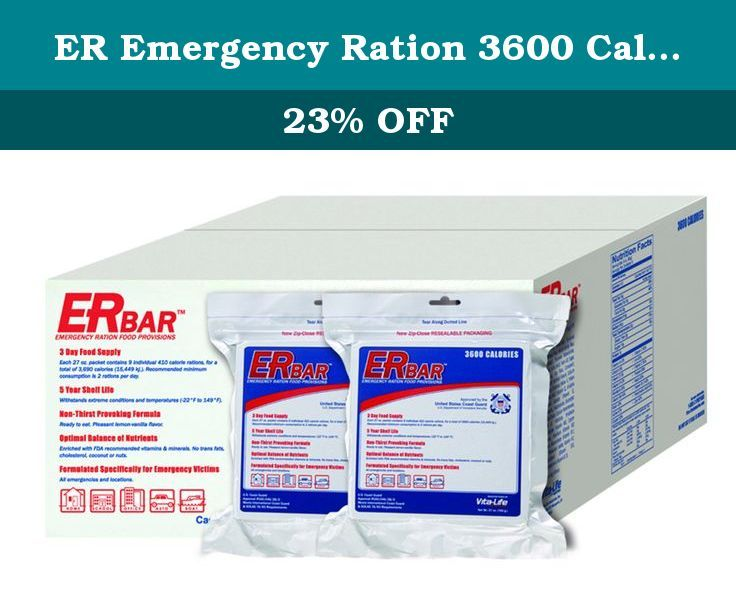 ER Emergency Ration 3600 Calorie Emergency Food Bars for Survival Kits and Disaster Preparedness (Case of 20). The 3600 calorie ER Bar Emergency Food Ration Bar is a U.S. Coast Guard Approved, 3 Day food ration bar. With a non-thirst provoking formula and a perfect balance of quality ingredients, it is specifically designed for disaster victims. The food bar is vacuum sealed and specially packaged to provide a shelf-life of up to 5 years. Each bar contains 100% of a person's recommended...