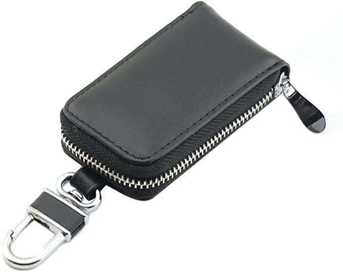 Leder Schlüsseltasche Schlüsseletui Schlüsselmappe Etui Tasche mit Reißverschlus