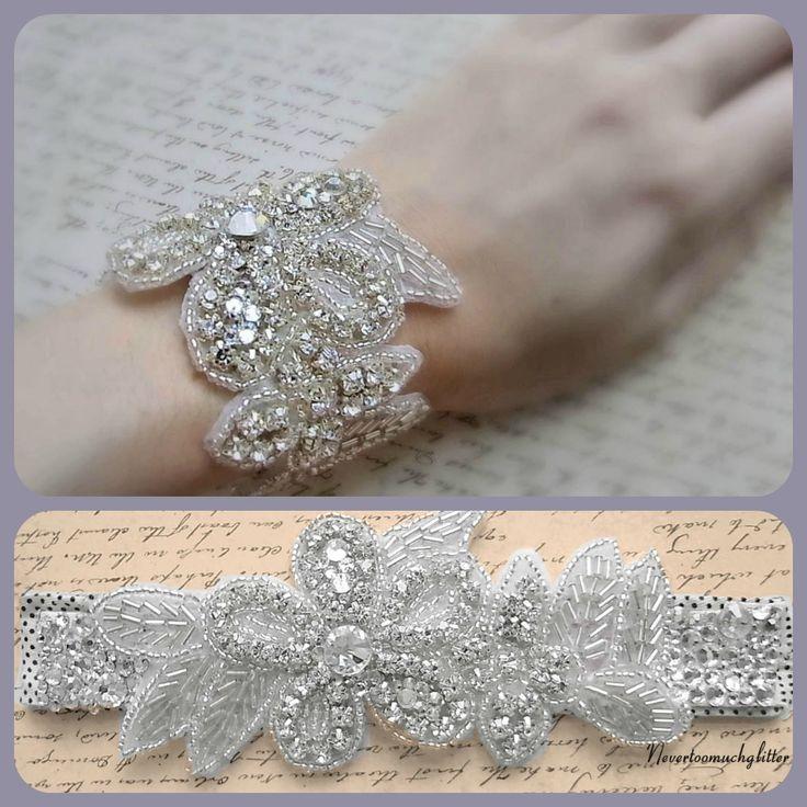 blinged out bridal slap bracelet