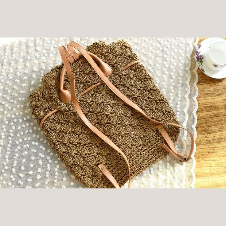 Brown Straw Backpack Hollow out Mini Summer Backpack Beach Bags