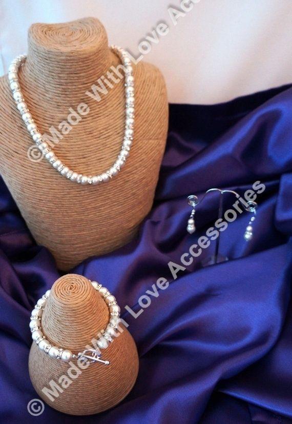 Pearl & Diamonte Jewellery Set - Pearl Necklace - Bridal Jewellery - Pearl Brace £59.00