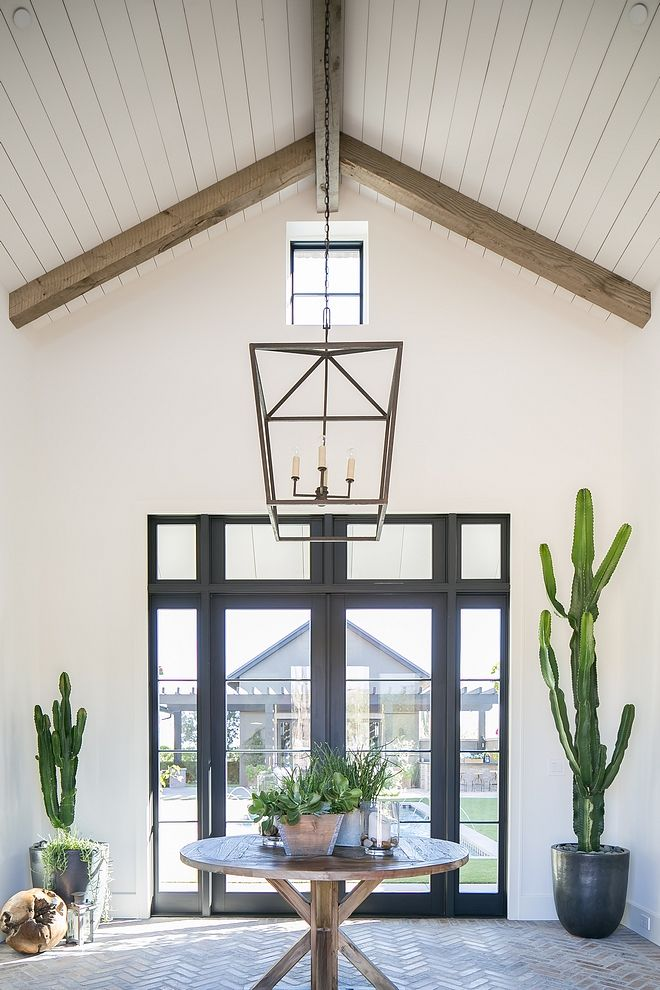 Foyer Steel Door Foyer Featuring Steel And Glass Door Herringbone Brick Flooring Vaulted Ceiling With Ranch Style Homes Ranch Style Home Country House Decor