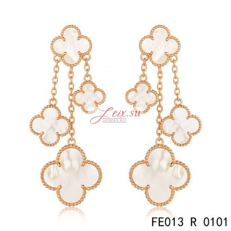 Van Cleef Arpels Replica Pink Gold Magic Alhambra Earrings White Mother Of Pearl 4 Motifs