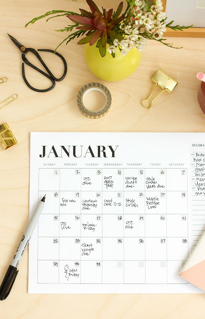 Free Printable Monthly Calendar to keep you organized and your office looking great!
