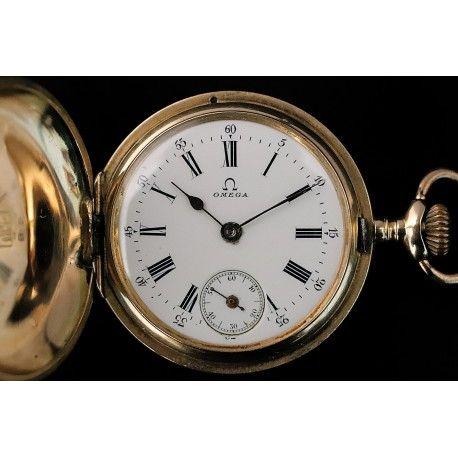 b75705554 Antiguo reloj de bolsillo saboneta en oro de 14 k de la marca de Omega de