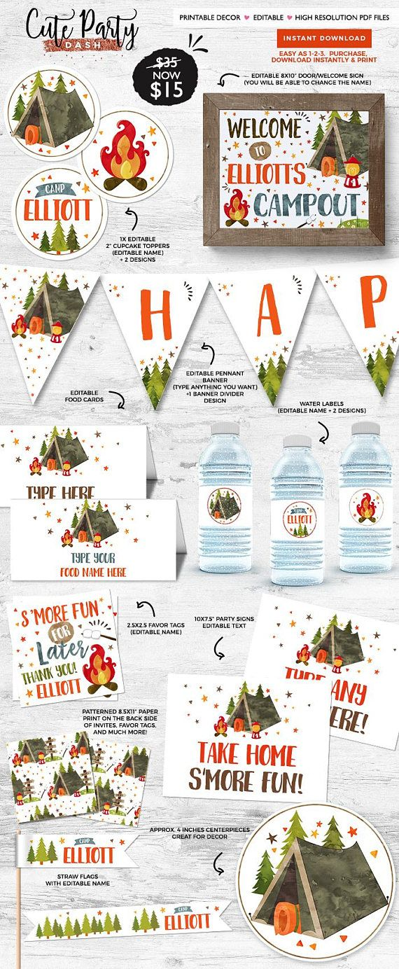 Camping Birthday Party Invitation You Purchase The Printable File And Print As Many Times Need At Home Or Places Like Walgreens Costco CVS
