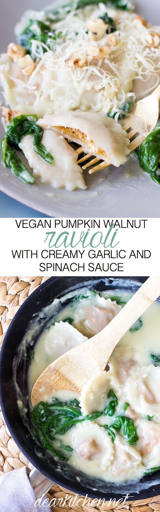 A home made Pumpkin and Walnut Ravioli in a Creamy Garlic Sauce with Spinach…