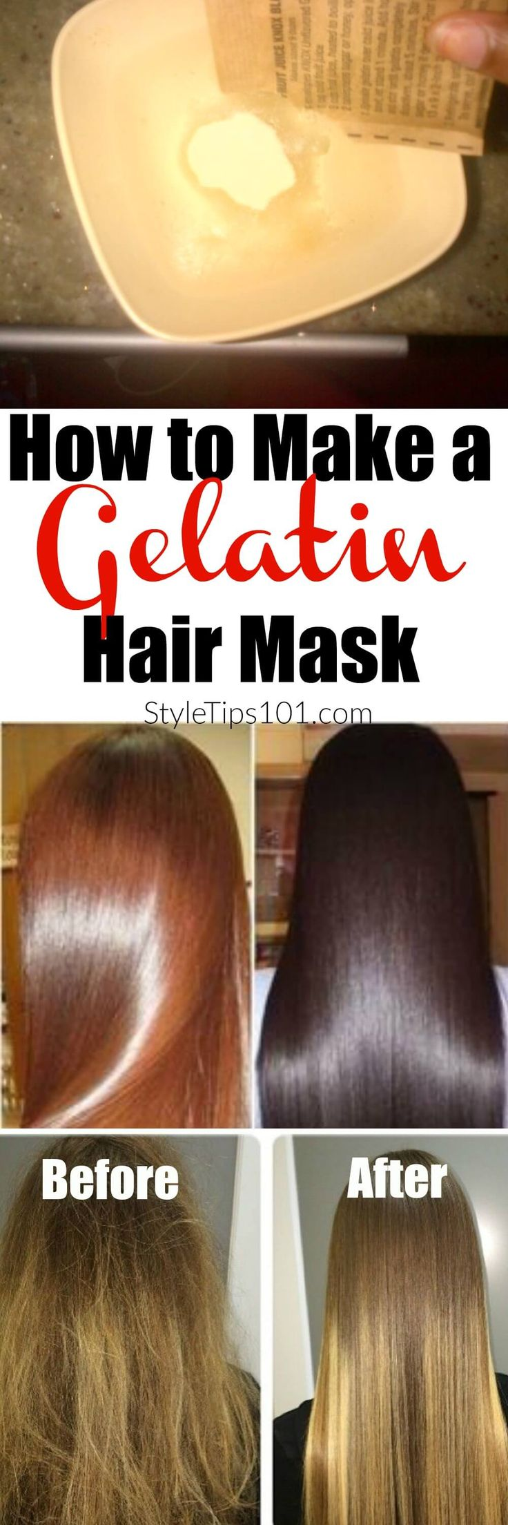Today we'll show you how to make a gelatin hair mask with all natural ingredients that will leave your hair ultra shiny, sleek, and healthy looking!