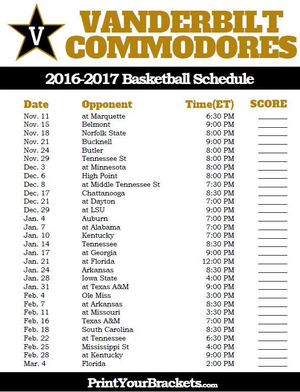 Vanderbilt Commodores 2016-2017 College Basketball Schedule