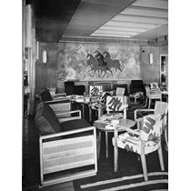 RMS Orcades II: the first-class lounge with mural by John Armstrong and carpet and fabrics by Marion Dorn