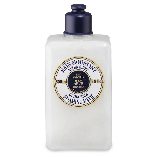L'Occitane Ultra Rich Foaming Bath.   Rich in softening and protecting shea milk, this bath cream releases a delicate foam when in contact with water this is a truly silky bathing experience..  Find me on the ground floor of our St. Helens Town Centre Department Store.