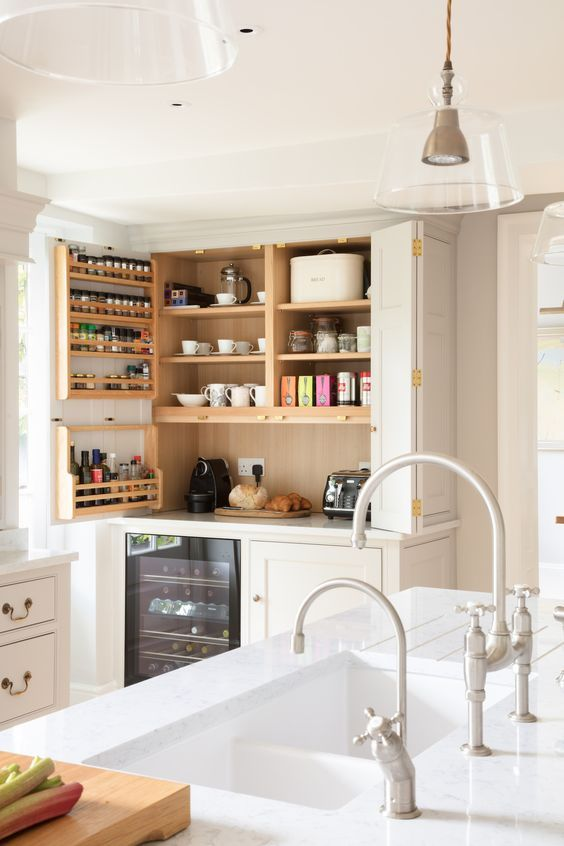 Georgian Farmhouse Kitchen, Hampshire - Humphrey Munson Kitchens - breakfast cupboard with coffee maker and toaster.: