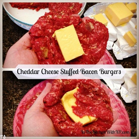 Cheddar Cheese Stuffed Bacon Burgers #SundaySupper Summer BBQ - In The ...