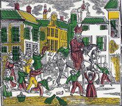 Rond 1800 doemt de eerste fysieke Sinterklaas als katholiek bisschop in volksprenten op