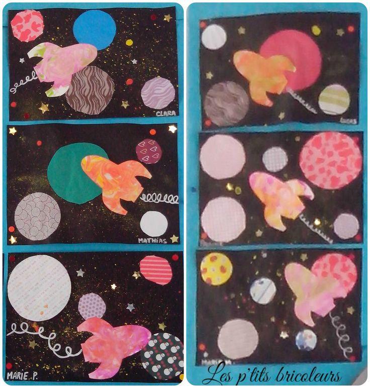 faire quelques tâches de peinture jaune et orange (gouache+eau) avec une brosse à dent sur une feuille noir de format A4, reproduire la fusée sur un bristol blanc, la découper, utiliser la technique de l'encre et de la mousse à raser pour obtenir les marbrures, découper des 4 ronds, de taille de différentes, dans du papier à motifs, style papier scrapbooking, coller le tout sur la feuille sèche, rajouter quelques gommettes étoiles, tracer la trajectoire de la fusée en dessinant des boucle...