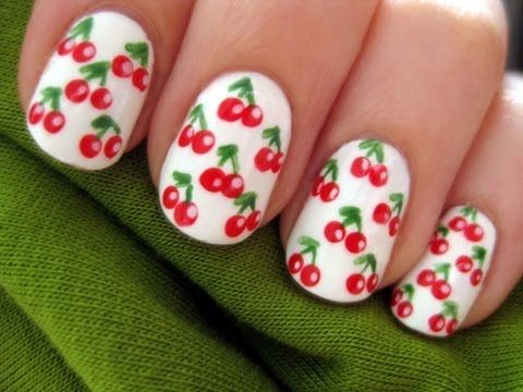 Cherry nails tutorial- I modified this idea, only doing cherries on my ring finger and doing a french manicure with a red glitter polish base and white tips, turned out SO cute!
