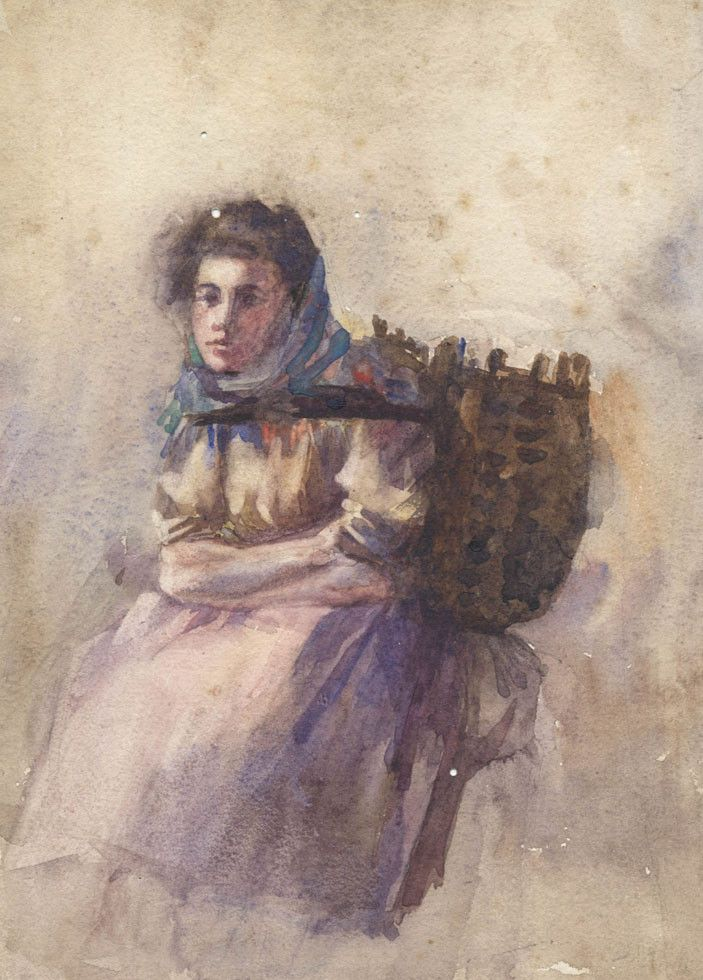 Girl Carrying A Basket - 19th Century Watercolour