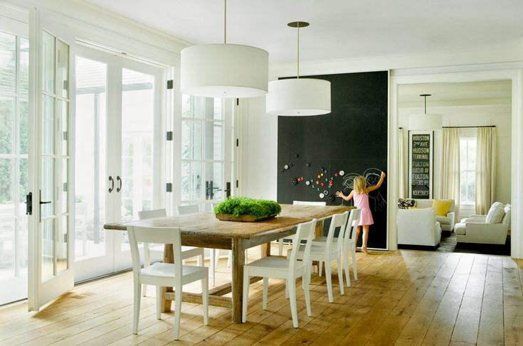 french doors, gorgeous wood floors, and chalkboard paint